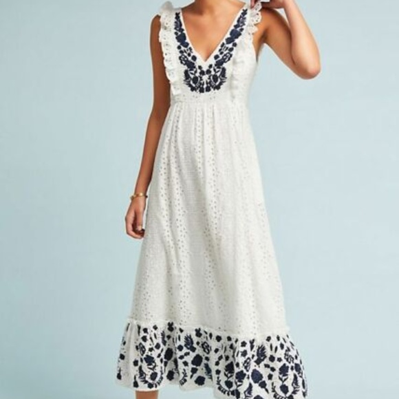 93c9106c8 Anthropologie Dresses | Unique Embroidered Midi Eyelet Dress | Poshmark